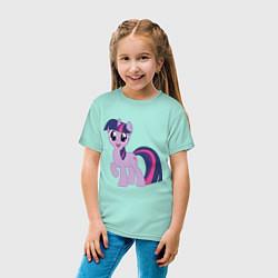 Футболка хлопковая детская Пони Сумеречная Искорка цвета мятный — фото 2