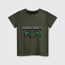 Футболка хлопковая детская Minecraft Hero цвета меланж-хаки — фото 1