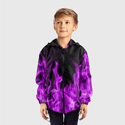 Ветровка с капюшоном детская Фиолетовый огонь цвета 3D-черный — фото 2