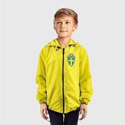 Ветровка с капюшоном детская Сборная Швеции: Домашняя ЧМ-2018 цвета 3D-черный — фото 2