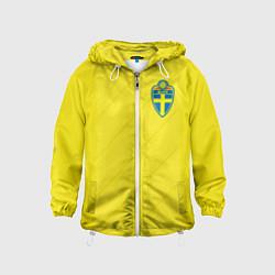 Ветровка с капюшоном детская Сборная Швеции: Домашняя ЧМ-2018 цвета 3D-белый — фото 1