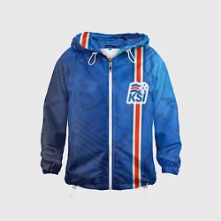 Ветровка с капюшоном детская Сборная Исландии по футболу цвета 3D-белый — фото 1