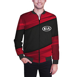 Бомбер мужской Kia: Red Sport цвета 3D-черный — фото 2