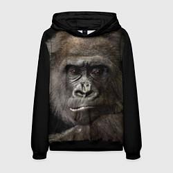 Толстовка-худи мужская Глаза гориллы цвета 3D-черный — фото 1