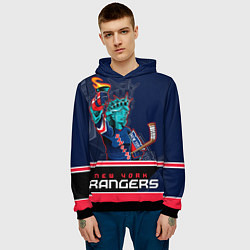 Толстовка-худи мужская New York Rangers цвета 3D-черный — фото 2