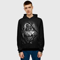 Толстовка-худи мужская Серый волк цвета 3D-черный — фото 2
