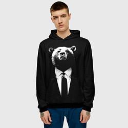 Толстовка-худи мужская Медведь бизнесмен цвета 3D-черный — фото 2