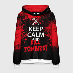 Толстовка-худи мужская Keep Calm & Kill Zombies цвета 3D-белый — фото 1