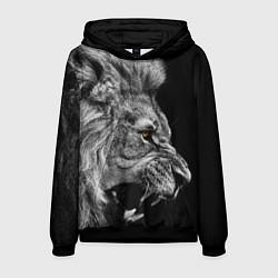 Толстовка-худи мужская Оскал льва цвета 3D-черный — фото 1