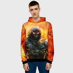 Толстовка-худи мужская Disturbed: Monster Flame цвета 3D-черный — фото 2