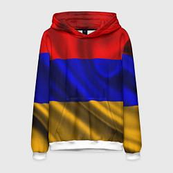 Толстовка-худи мужская Флаг Армения цвета 3D-белый — фото 1