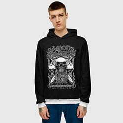Толстовка-худи мужская Amon Amarth: Trio Skulls цвета 3D-белый — фото 2