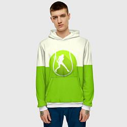 Толстовка-худи мужская Символ теннисиста цвета 3D-белый — фото 2