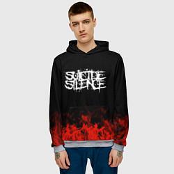 Толстовка-худи мужская Suicide Silence: Red Flame цвета 3D-меланж — фото 2