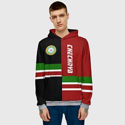 Толстовка-худи мужская Chechnya, Russia цвета 3D-меланж — фото 2