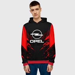 Толстовка-худи мужская Opel: Red Anger цвета 3D-красный — фото 2