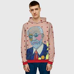 Толстовка-худи мужская Зигмунд Фрейд цвета 3D-красный — фото 2