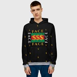 Толстовка-худи мужская FACE GG Style цвета 3D-меланж — фото 2