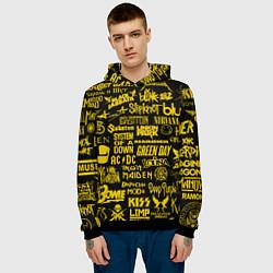 Толстовка-худи мужская Логотипы рок групп GOLD цвета 3D-черный — фото 2