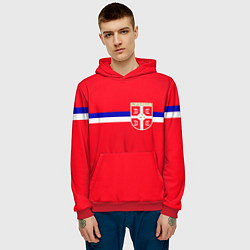 Толстовка-худи мужская Сборная Сербии цвета 3D-красный — фото 2