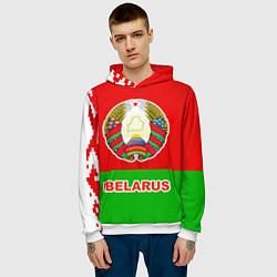 Толстовка-худи мужская Belarus Patriot цвета 3D-белый — фото 2