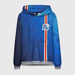 Толстовка-худи мужская Сборная Исландии по футболу цвета 3D-меланж — фото 1