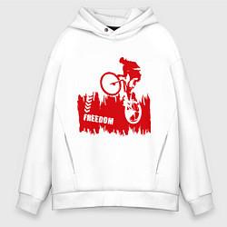 Толстовка оверсайз мужская Велосипед цвета белый — фото 1