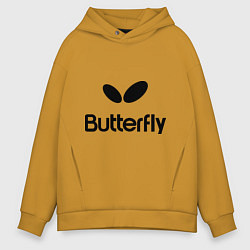 Толстовка оверсайз мужская Butterfly Logo цвета горчичный — фото 1