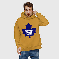 Толстовка оверсайз мужская Toronto Maple Leafs цвета горчичный — фото 2
