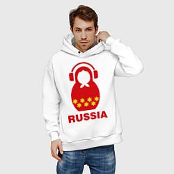 Толстовка оверсайз мужская Russia dj цвета белый — фото 2