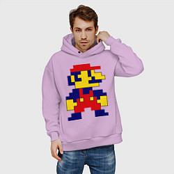 Толстовка оверсайз мужская Pixel Mario цвета лаванда — фото 2