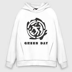 Толстовка оверсайз мужская Green Day: Red Symbol цвета белый — фото 1