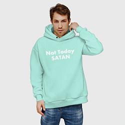 Толстовка оверсайз мужская Not Today Satan цвета мятный — фото 2