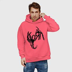 Толстовка оверсайз мужская Korn bones цвета коралловый — фото 2