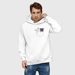 Толстовка оверсайз мужская Кисы цвета белый — фото 2