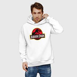 Толстовка оверсайз мужская Jurassic Park цвета белый — фото 2
