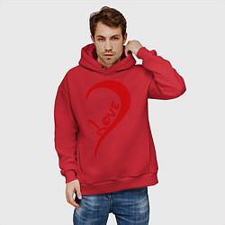Толстовка оверсайз мужская One love: for him цвета красный — фото 2
