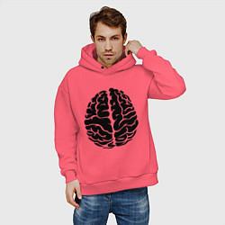 Толстовка оверсайз мужская Он: мозг цвета коралловый — фото 2