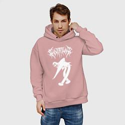 Толстовка оверсайз мужская GHOSTEMANE цвета пыльно-розовый — фото 2