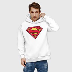 Толстовка оверсайз мужская Superman logo цвета белый — фото 2