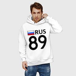 Толстовка оверсайз мужская RUS 89 цвета белый — фото 2