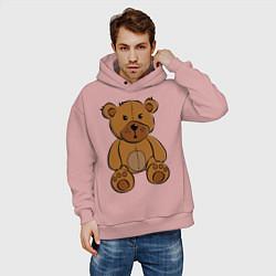 Толстовка оверсайз мужская Плюшевый медведь цвета пыльно-розовый — фото 2