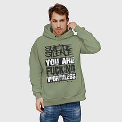 Толстовка оверсайз мужская Suicide Silence: You are Fucking цвета авокадо — фото 2