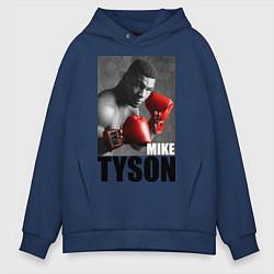 Толстовка оверсайз мужская Mike Tyson цвета тёмно-синий — фото 1