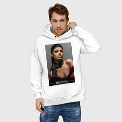 Толстовка оверсайз мужская Rihanna: portrait цвета белый — фото 2