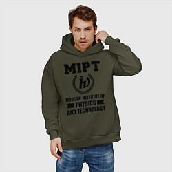 Толстовка оверсайз мужская MIPT Institute цвета хаки — фото 2