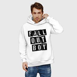 Толстовка оверсайз мужская Fall Out Boy: Words цвета белый — фото 2