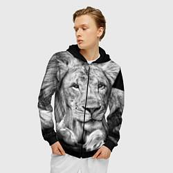 Толстовка 3D на молнии мужская Милый лев цвета 3D-черный — фото 2
