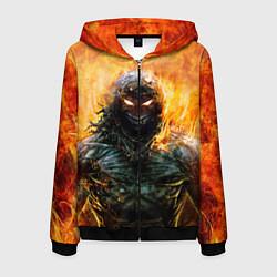 Толстовка 3D на молнии мужская Disturbed: Monster Flame цвета 3D-черный — фото 1