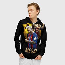 Толстовка 3D на молнии мужская Messi Star цвета 3D-черный — фото 2